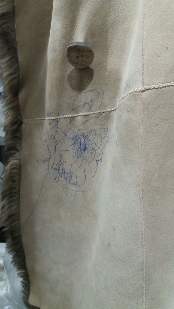 Before-Чистка дубленки, разрисованной ребенком шариковой ручкой